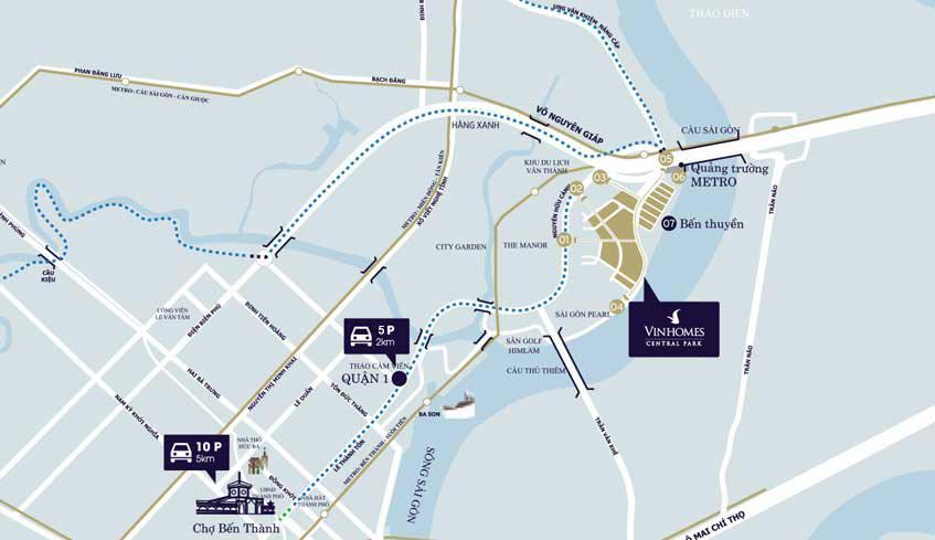 Vị trí Vinhomes Central Park Tân Cảng