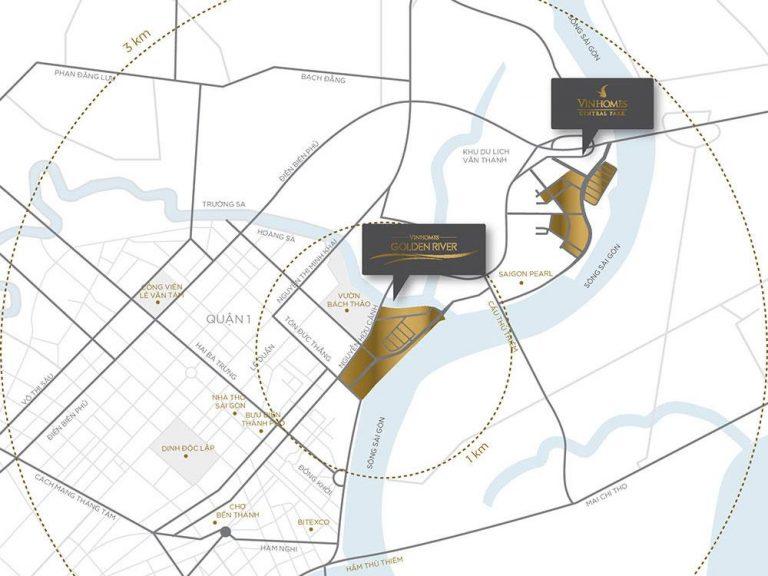 Vị trí dự án Vinhomes Golden River Bason